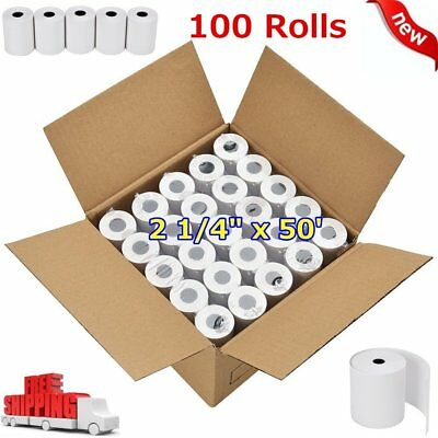 "100 ROLLS CREDIT CARD REGISTER POS THERMAL RECEIPT PAPER 2 1/4"" x 50' for iCT220"