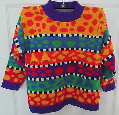 Sweater Vintage Kids 80's Multi Color Children Geometric Crewneck