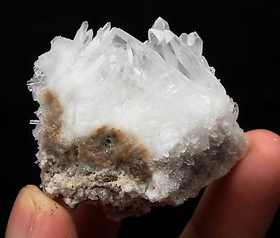 37.3g  Clear Natural Beautiful White QUARTZ Crystal Cluster Specimen