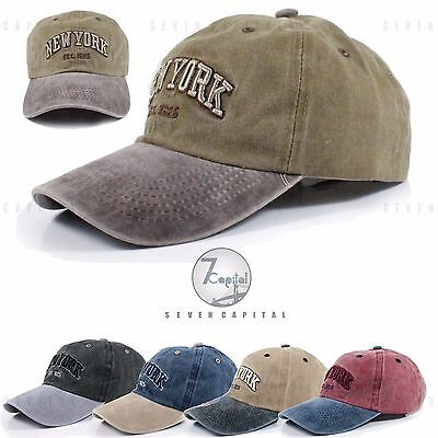 New York City Mens Cotton Dinim Washed Polo Style Adjustable Baseball Cap Hat