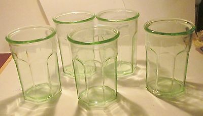 "5 Libbey Green 5.5"" Juice Glass Tumblers 4"" across top 3"" across bottom"