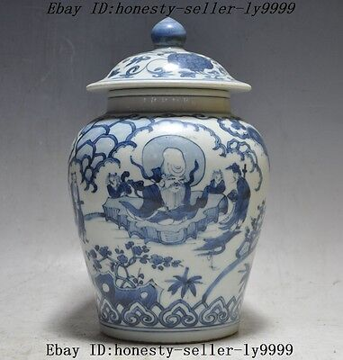 "9""Old Chinese Blue and white porcelain Longevity god statue jar tanks pot bottle"