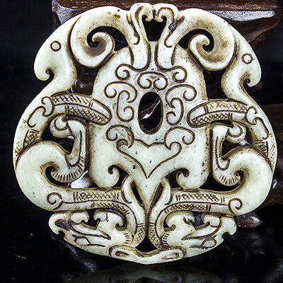 Hot Ancient Chinese natural exquisite pure hand carved hollow old jade@7