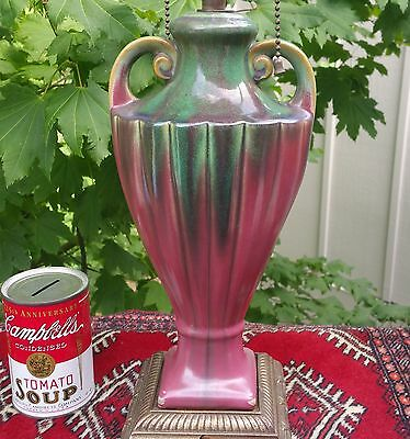 FULPER arts crafts studio pottery vtg table lamp flambe pink red drip glaze urn