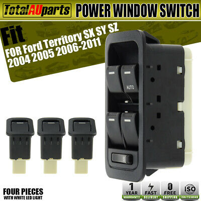 Master and 3x Single Window Switches for Ford Territory SX SY Illuminated Black