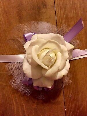 Small white and purple Dance Corsage