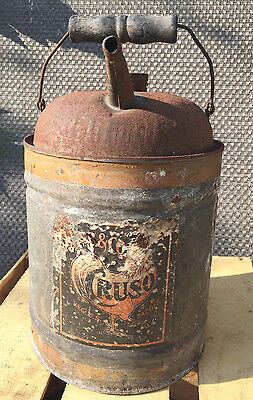 Vintage Antique 1920's Cruso Rooster Logo Galvanized Oil Gas Can