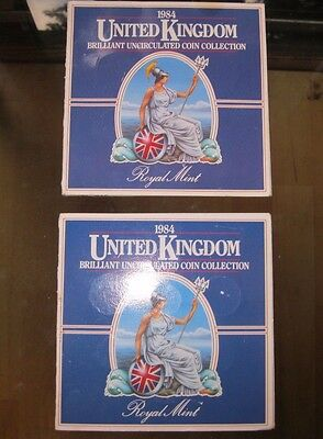 1984 United Kingdom Brilliant Uncirculated Coin Collection 2 SETS Royal Mint lot