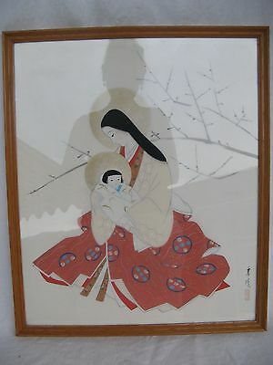 JAPANESE NIHONGA PAINTING MADONNA w.CHILD ca. 1905 ZEICHNUNG MARIA .KIND JAPAN