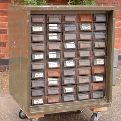 Vintage Industrial Steel Bank Of Drawers 50 Drawers Collectors Cabinet