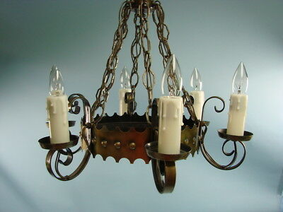 Vtg Spanish Revival Chandelier Lamp Brass Hanging Light Fixure