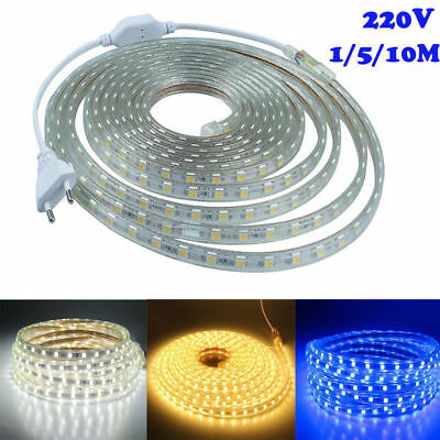 220V 1/5/10M Waterproof LED Strip Light Bar Roll Rope Tape Home Kitchen Party ZY