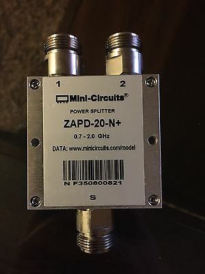 Mini-Circuits Coax Power Splitter ZAPD-20-N+ 700 to 2000 MHz.