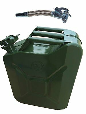 METAL FUEL JERRY CAN DIESEL PETROL OIL 20 LITRE GREEN MILITARY + Flexy Spout