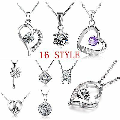 Fashion Women Pendant Jewelry Crystal Heart 925 Sterling Silver Necklace + Chain