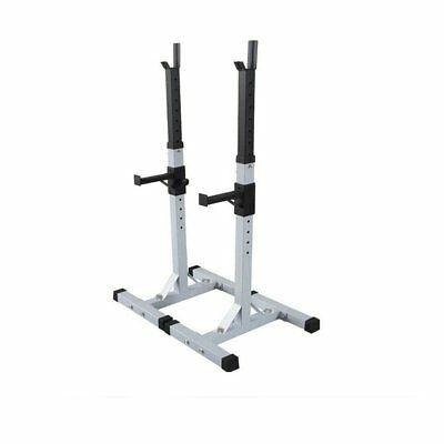 Heavy Duty Gym Squat Barbell Power Rack Stand Weight Bench Support White