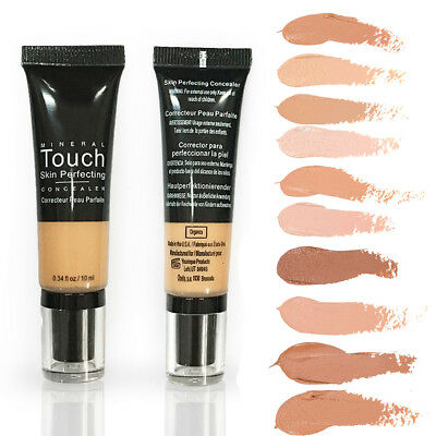 Mineral Touch Liquid Conceal Foundation Full Coverage 10 Colors + Sponge Puff