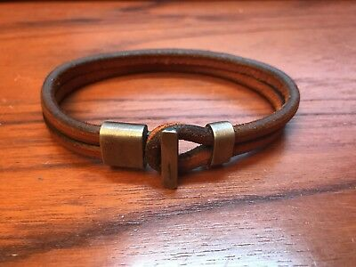 Tanner Goods Premium Leather Wristband Bracelet size Large Saddle Tan