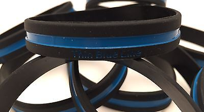 Thin Blue Line, Silicone Bracelet, Wristband, Police, Cops, 10 x Band, TBL