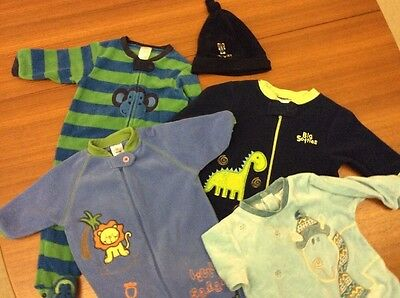 Fleece Sleep suits X 3 Plus Extras Boys Size 00 And Small Size 0