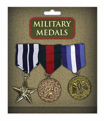 Combat Hero Medals (Multi) -Pack of 3- Fancy Dress Accessory