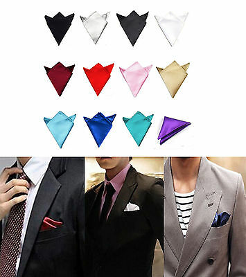 Men's Satin Silk Pocket Square Hankie Hankerchief Wedding Party Formal Suit Gift