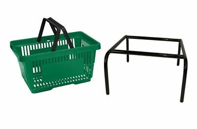 20 x Green Plastic Shopping Basket with FREE Black Metal Stacker