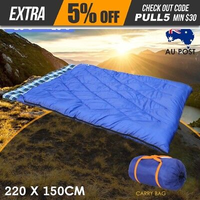 Double Camping Sleeping Bag Blue Hiking Thermal Winter -10°C Outdoor 220x150cm