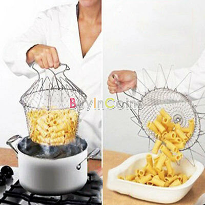 Creative Foldable Steam Rinse Strain Fry Chef Basket Strainer Net Kitchen