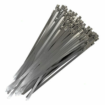 25 STAINLESS STEEL CABLE TIES METAL STRIPPING HEAT EXHAUST WRAP TIE 4.6mmx305mm