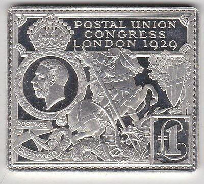 George V One Pound Postal Congress Silver Stamp Ingot In Near Mint Condition