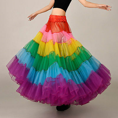 Colorful Rainbow Long Skirt Wedding Petticoat A Line Crinoline Underskirt Slips