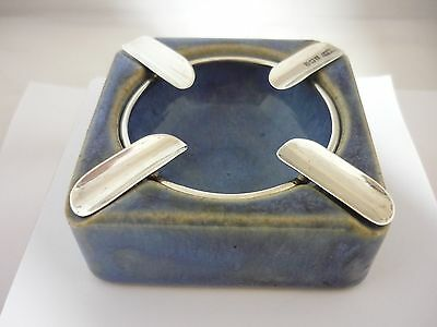 Rare 1927 Royal Doulton Lambethware Sterling Silver Ashtray Excellent Condition