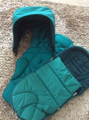 Mamas and Papas Urbo 2 Teal hood, fabric, Cold Weather Foot Muff Excellent
