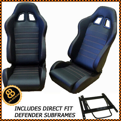 DEFENDER 90 110 BB4 Reclining Bucket Sports Seats Red Stitching + Adaptor Plates
