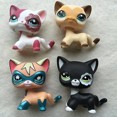 4pcs Littlest Pet Shop Animals Loose LPS Toys Masked Cat #2291 #3573 & #2249