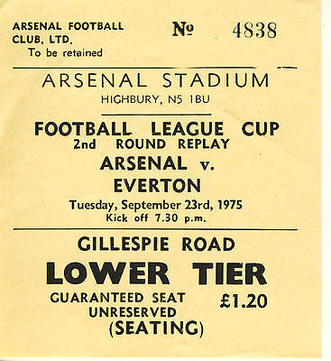 Ticket: Arsenal v Everton 23/9/1975 League Cup