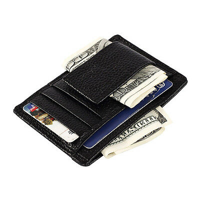 Mens Leather Magnet Money Clip Slim Credit Card Id Holder Multi function Wallet