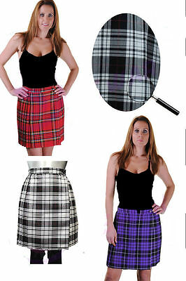 """Ladies Womens 18"""" Pleated Wrapped Over Buttoned Kilt Tartan Skirt Uk Size 8-18"""