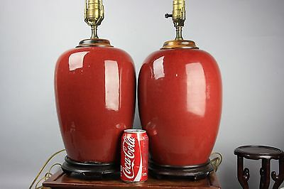 19th C. PAIR CHINESE RED-GLAZED WOOD COVERS JARS