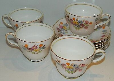 E. Brain Foley Bone China V2869 - 3 Cups & 5 Saucers