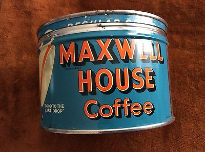 Vtg Maxwell House Coffee One Lb. Advertising Tin Can - N.r.
