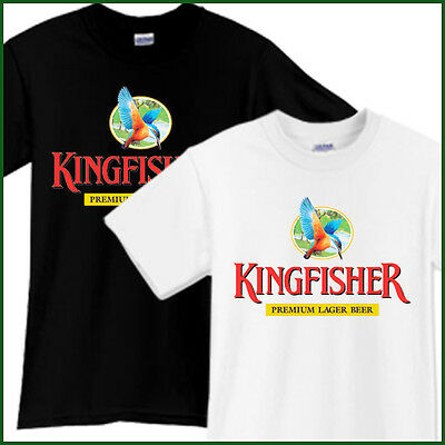 KINGFISHER Beer T-Shirt Brewery Ale Promo Black White TShirt Tee Size S-2XL