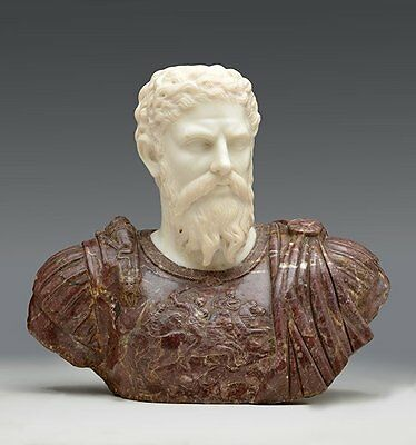 Important Carved Late 17th century RED AND WHITE MARBLE Bust of a Roman Emperor