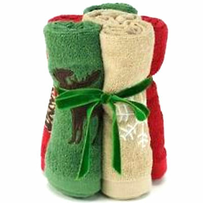 Winter Lodge & Cabin Towel Gift Set / Embroidered Pine Cone - Moose - Snowflake