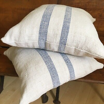 Antique PAIR European Grain Sack Pillows Primitive Farmhouse Vintage OLD Blue