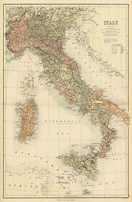 Map of Italy c1890 repro 24x36