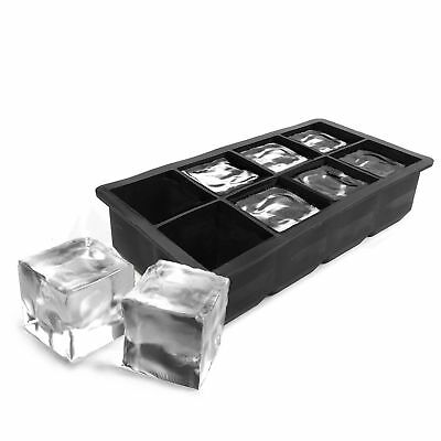 Ginsanity 8 Mega-ICE Hole Large Silicone Gin, Whisky & Brandy Ice Cube Tray -Blk