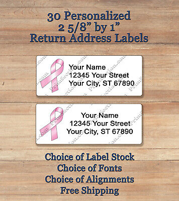 30 Personalized Printed Peel & Stick Return Address Labels ~ Pink Heart