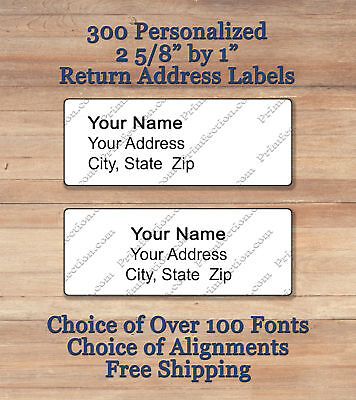 300 Plain Personalized Self Adhesive Printed to Order Return Address Labels